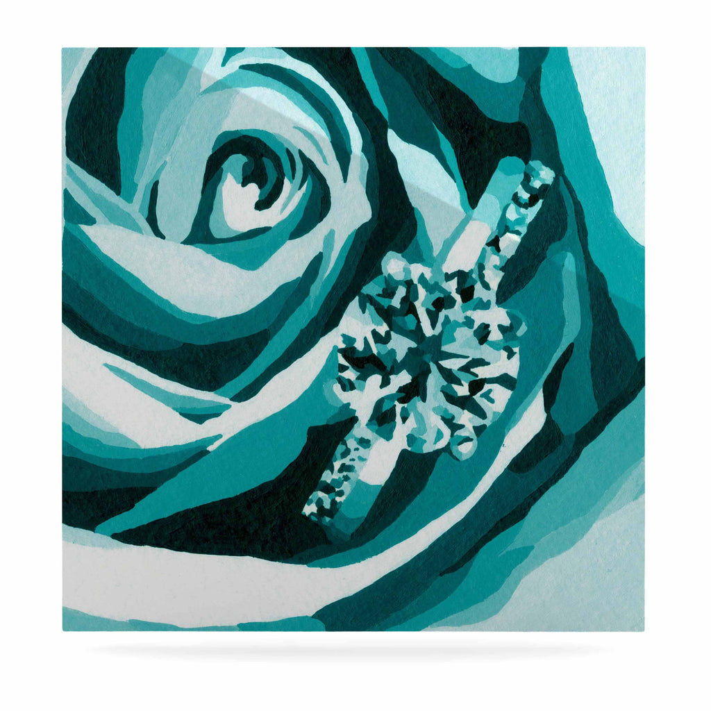 "Nl Designs ""Happy Engagement Tiffany"" Teal White Luxe Square Panel - KESS InHouse  - 1"
