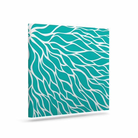 "NL Designs ""Swirls Tiffany"" Teal White Canvas Art - KESS InHouse"