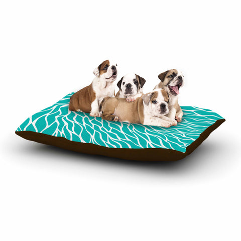 "NL Designs ""Swirls Tiffany"" Teal White Dog Bed - KESS InHouse  - 1"