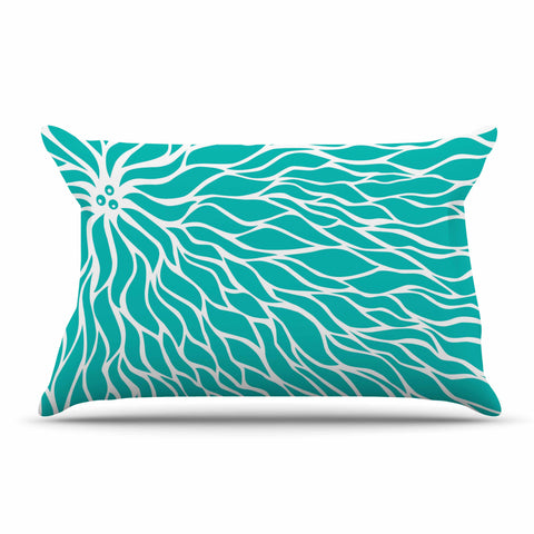"NL Designs ""Swirls Tiffany"" Teal White Pillow Sham - KESS InHouse"