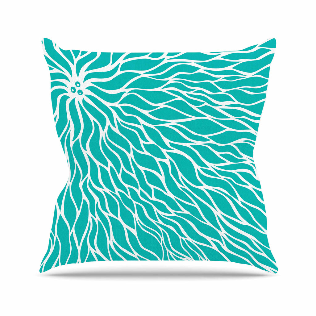 "NL Designs ""Swirls Tiffany"" Teal White Outdoor Throw Pillow - KESS InHouse  - 1"