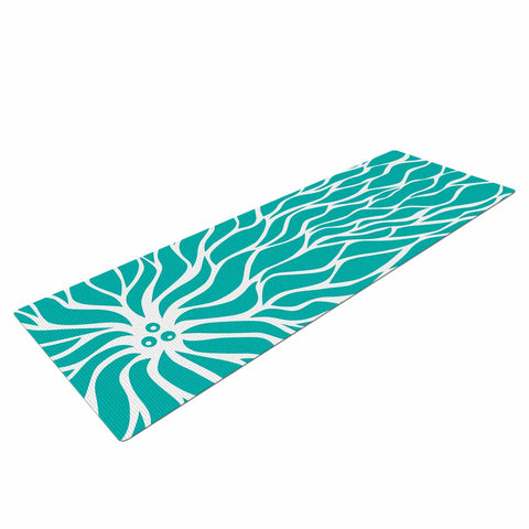 "NL Designs ""Swirls Tiffany"" Teal White Yoga Mat - KESS InHouse  - 1"