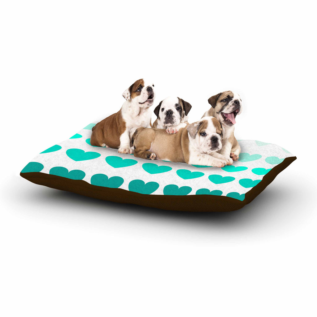 "NL Designs ""Teal Hearts"" Blue love Dog Bed - KESS InHouse  - 1"