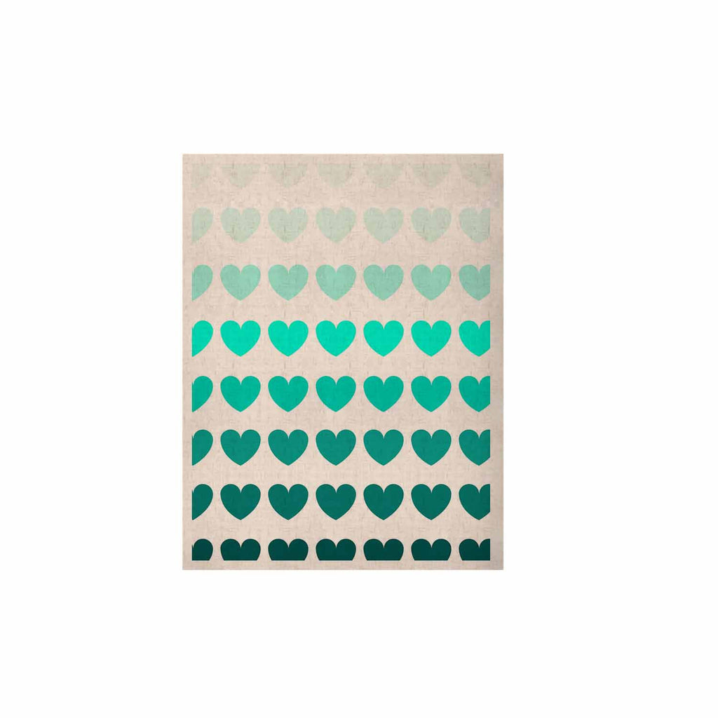 "NL Designs ""Teal Hearts"" Blue love KESS Naturals Canvas (Frame not Included) - KESS InHouse  - 1"