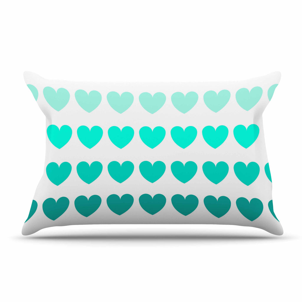 "NL Designs ""Teal Hearts"" Blue love Pillow Sham - KESS InHouse"