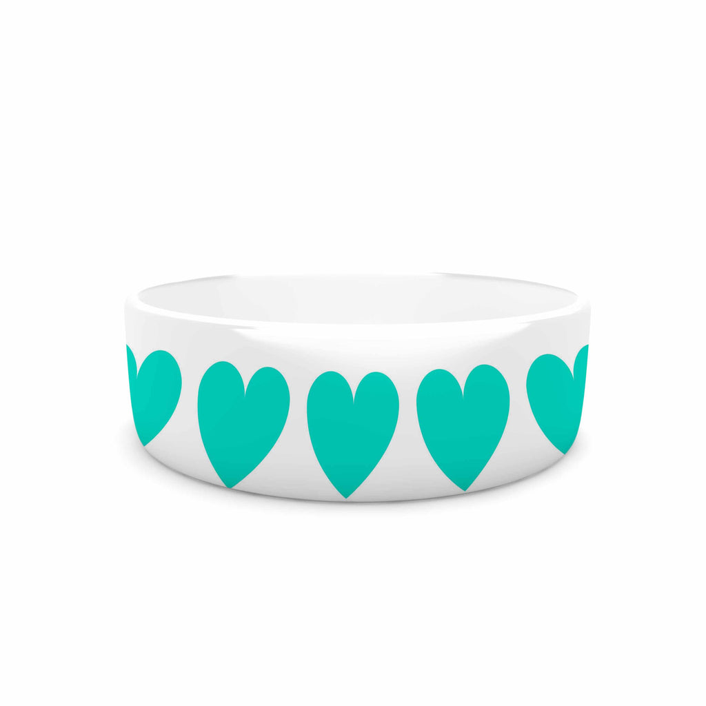 "NL Designs ""Teal Hearts"" Blue love Pet Bowl - KESS InHouse"