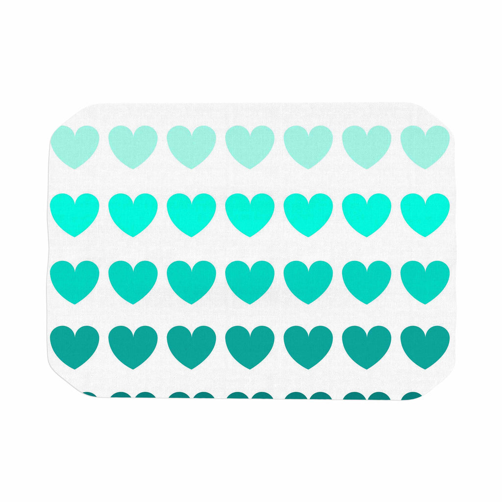 "NL Designs ""Teal Hearts"" Blue love Place Mat - KESS InHouse"
