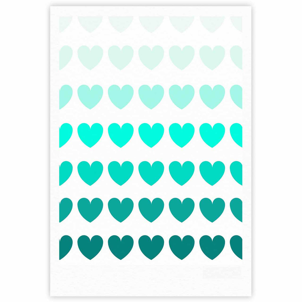 "NL Designs ""Teal Hearts"" Blue love Fine Art Gallery Print - KESS InHouse"