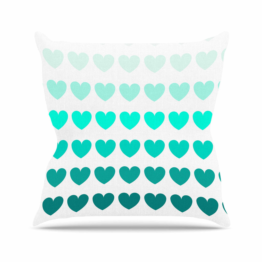 "NL Designs ""Teal Hearts"" Blue love Outdoor Throw Pillow - KESS InHouse  - 1"