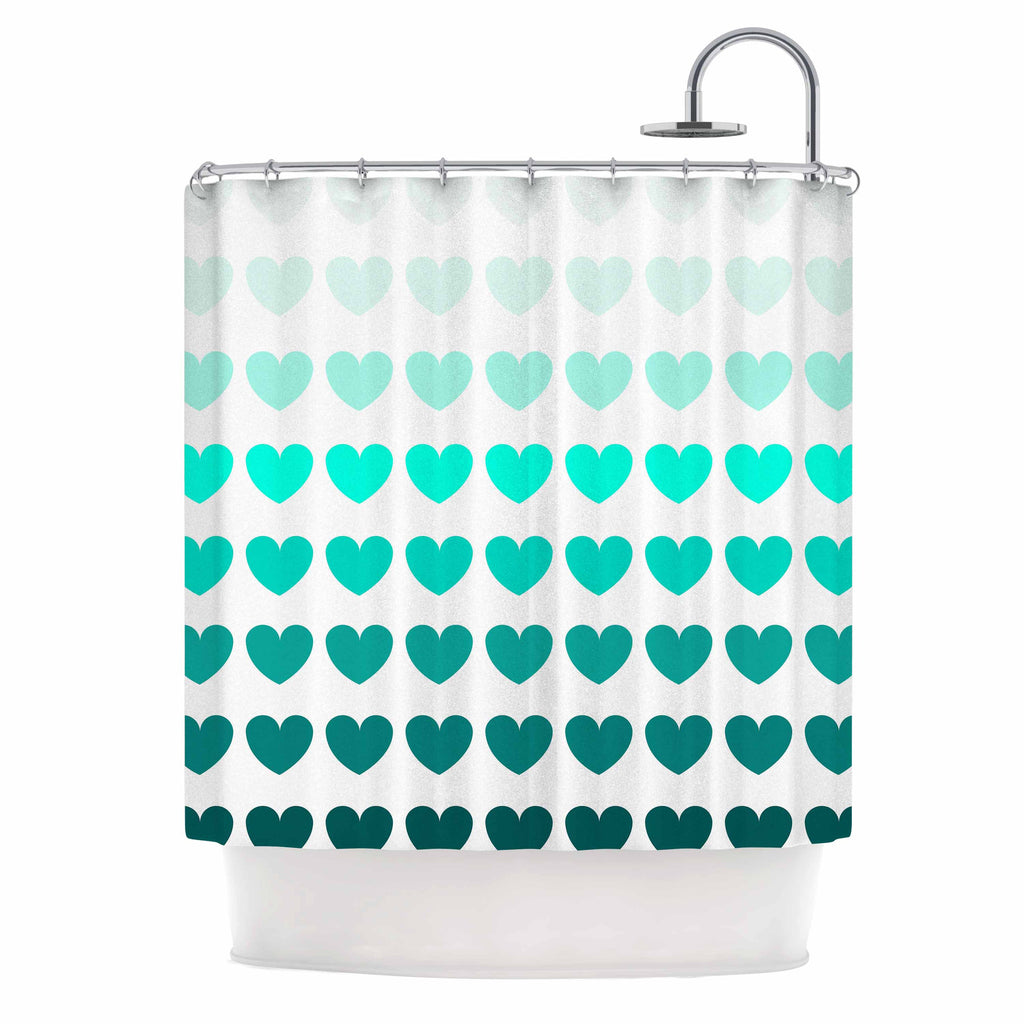 "NL Designs ""Teal Hearts"" Blue love Shower Curtain - KESS InHouse"