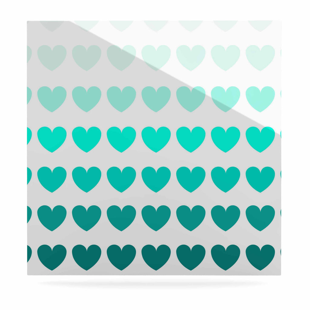 "NL Designs ""Teal Hearts"" Blue love Luxe Square Panel - KESS InHouse  - 1"
