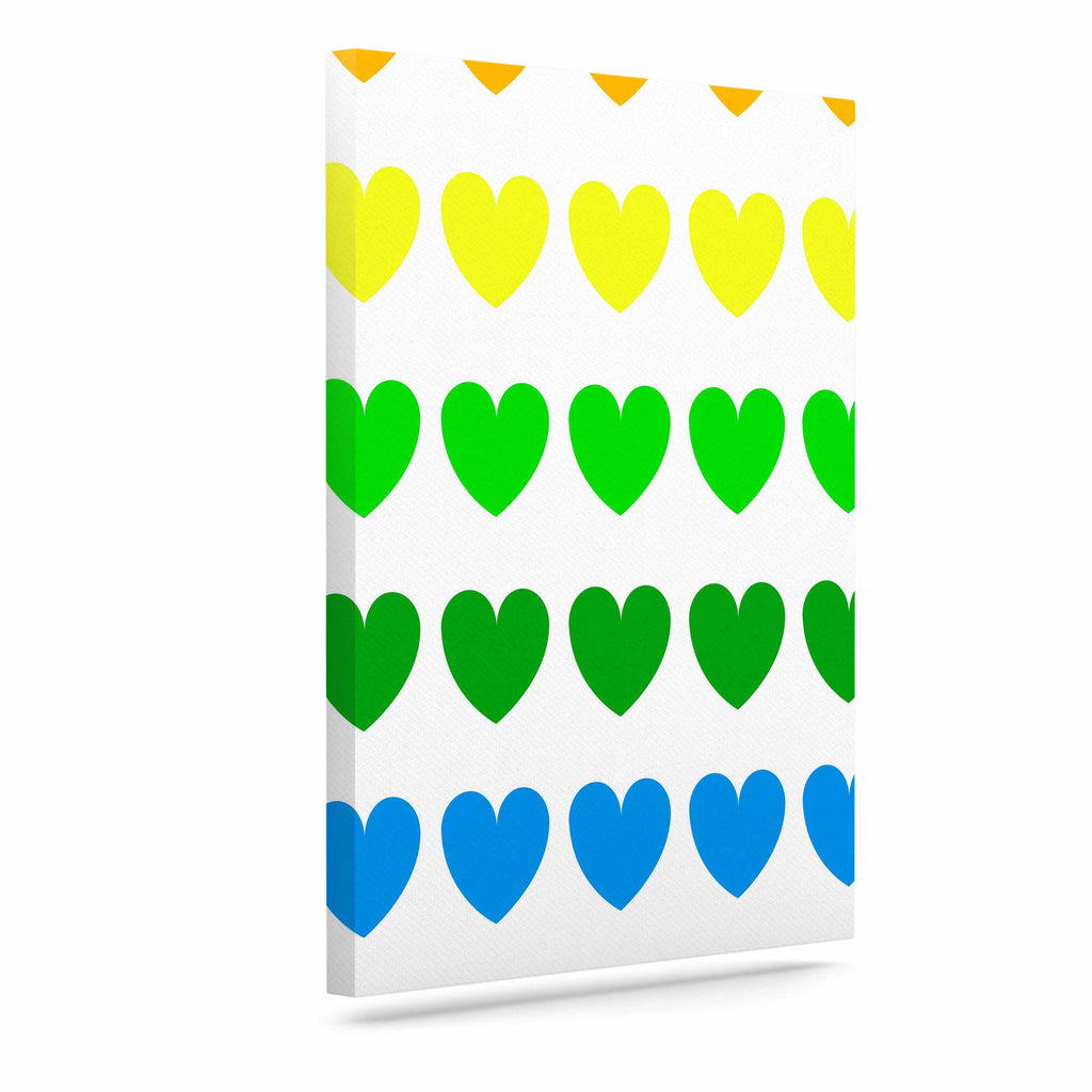 "NL Designs ""Rainbow Hearts"" Multicolor Love Canvas Art - KESS InHouse  - 1"