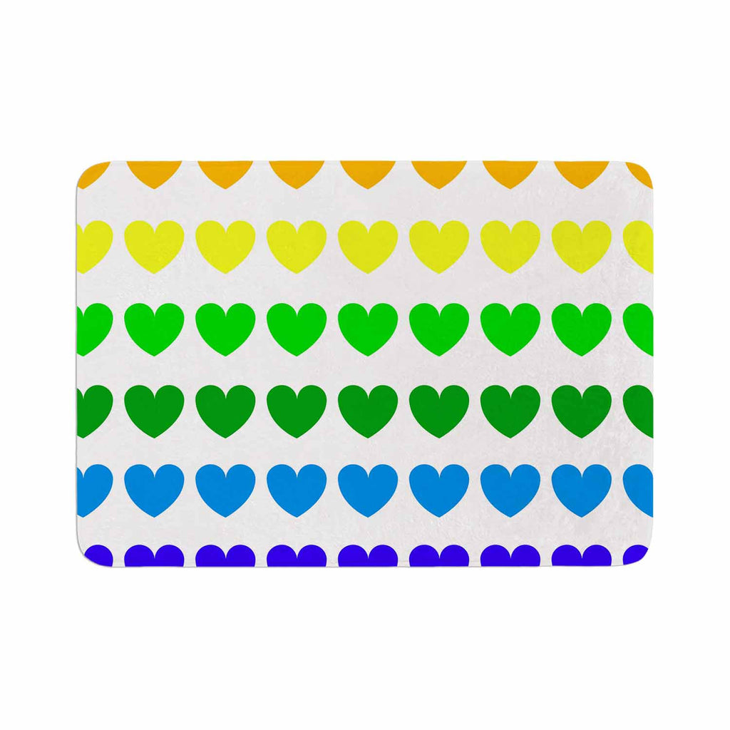 "NL Designs ""Rainbow Hearts"" Multicolor Love Memory Foam Bath Mat - KESS InHouse"