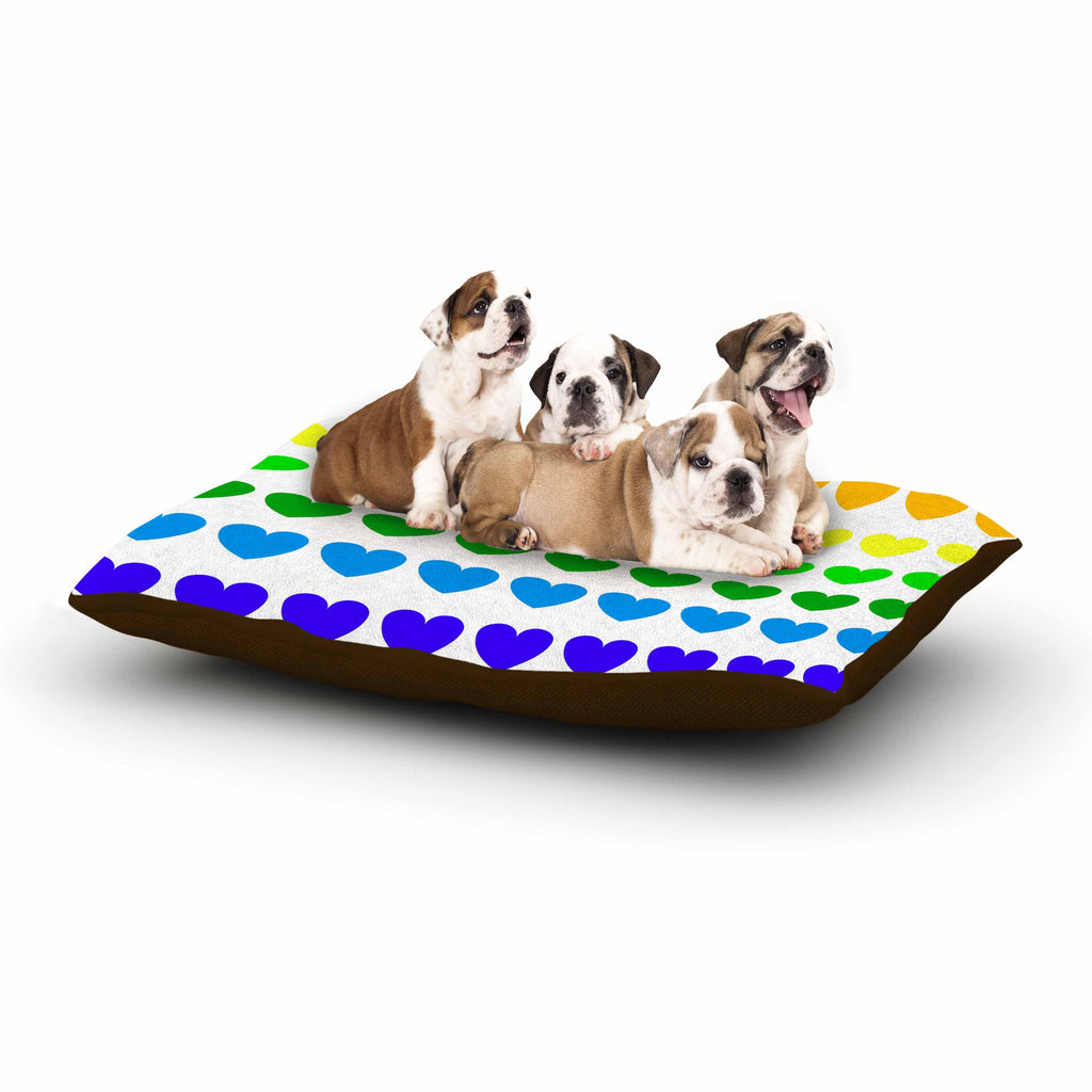 "NL Designs ""Rainbow Hearts"" Multicolor Love Dog Bed - KESS InHouse  - 1"