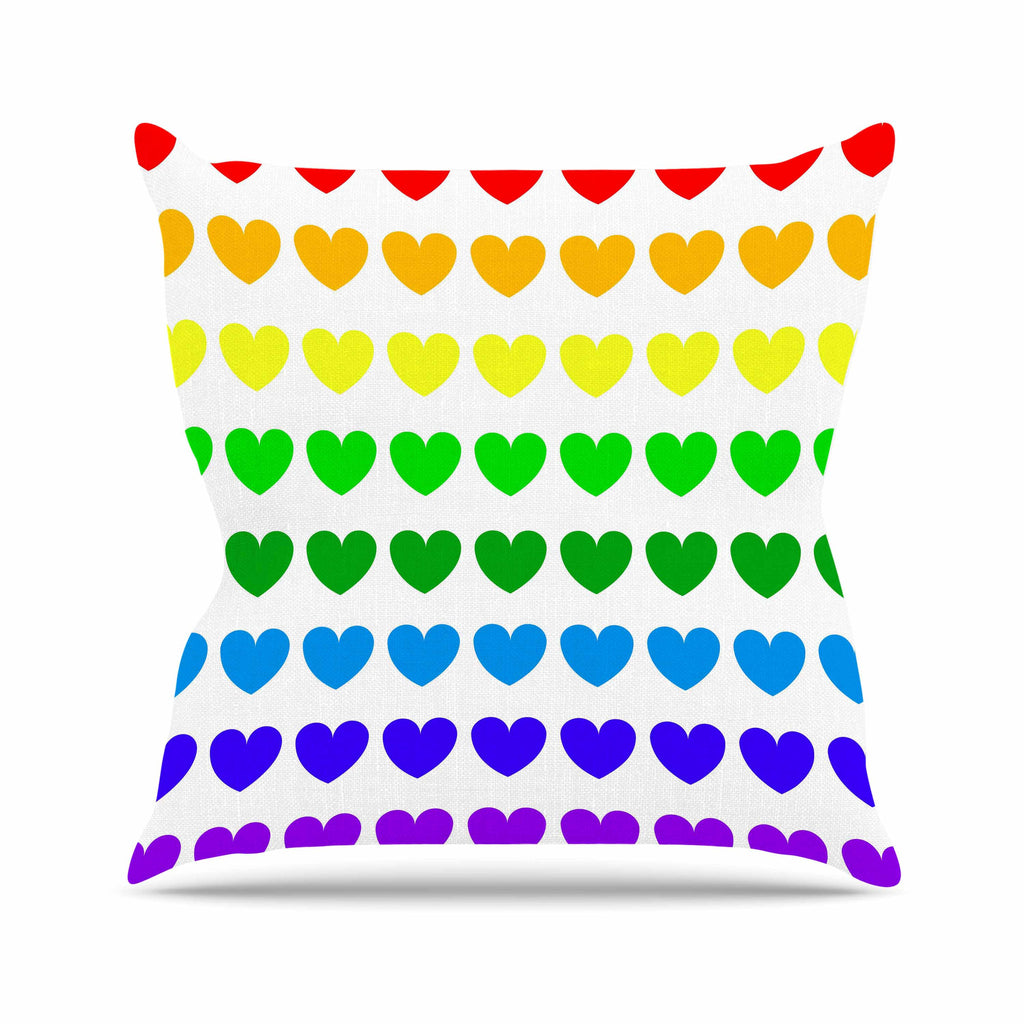 "NL Designs ""Rainbow Hearts"" Multicolor Love Outdoor Throw Pillow - KESS InHouse  - 1"