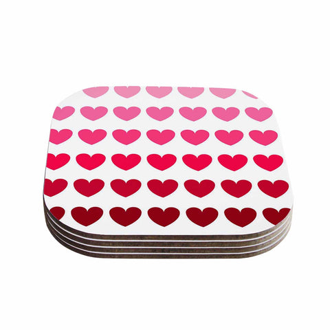 "NL Designs ""Pink Hearts"" Maroon Love Coasters (Set of 4) - Outlet Item"