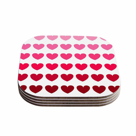 "NL Designs ""Pink Hearts"" Maroon Love Coasters (Set of 4)"