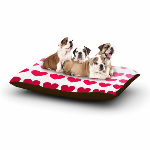 "NL Designs ""Pink Hearts"" Maroon Love Dog Bed - KESS InHouse  - 1"