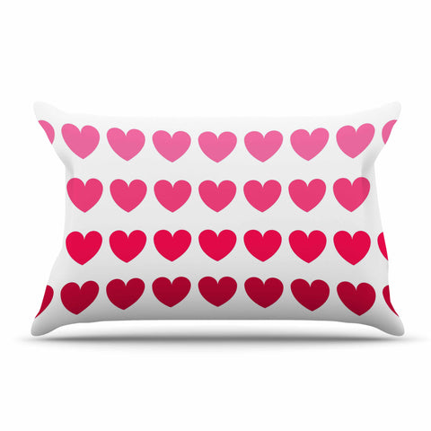 "NL Designs ""Pink Hearts"" Maroon Love Pillow Sham - KESS InHouse"
