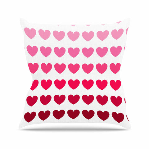 "NL Designs ""Pink Hearts"" Maroon Love Outdoor Throw Pillow - KESS InHouse  - 1"