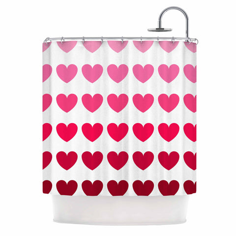 "NL Designs ""Pink Hearts"" Maroon Love Shower Curtain - KESS InHouse"