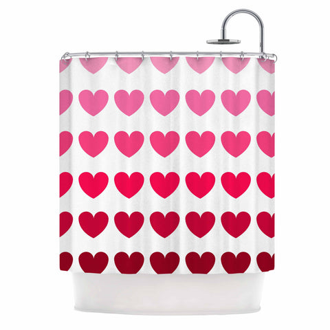 "NL Designs ""Pink Hearts"" Maroon Love Shower Curtain - Outlet Item - KESS InHouse"