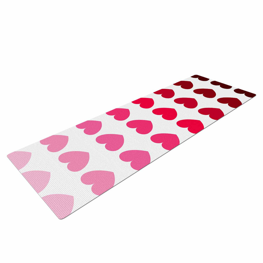 "NL Designs ""Pink Hearts"" Maroon Love Yoga Mat - KESS InHouse  - 1"
