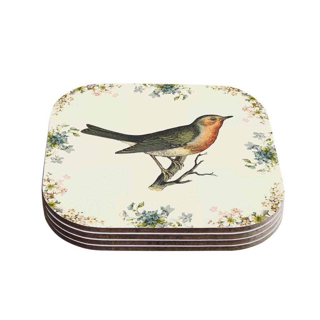 "NL Designs ""Vintage Bird 3"" Tan   Coasters (Set of 4)"