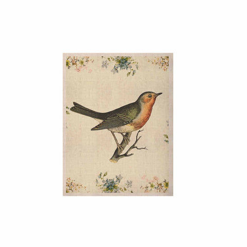 "NL Designs ""Vintage Bird 3"" Tan   KESS Naturals Canvas (Frame not Included) - KESS InHouse  - 1"