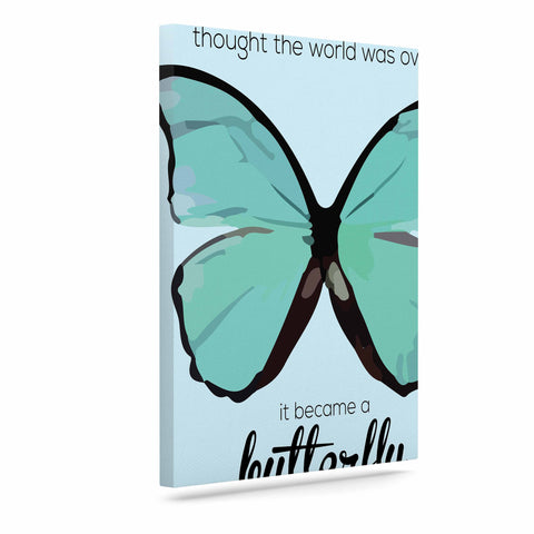 "NL Designs ""Blue Butterfly"" Blue Quote Canvas Art - KESS InHouse  - 1"