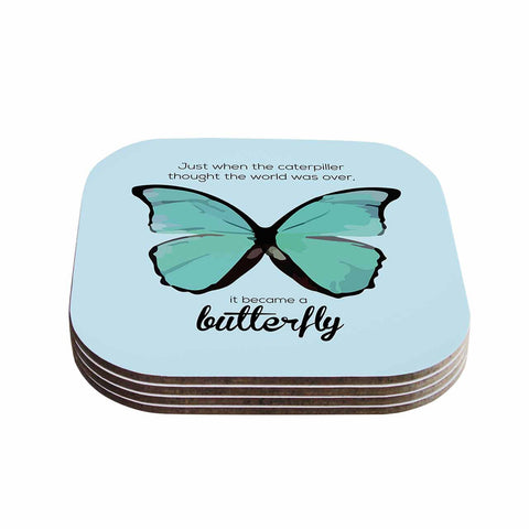 "NL Designs ""Blue Butterfly"" Blue Quote Coasters (Set of 4)"