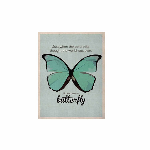 "NL Designs ""Blue Butterfly"" Blue Quote KESS Naturals Canvas (Frame not Included) - KESS InHouse  - 1"