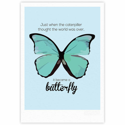 "NL Designs ""Blue Butterfly"" Blue Quote Fine Art Gallery Print - KESS InHouse"