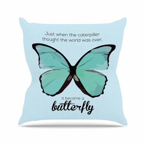 "NL Designs ""Blue Butterfly"" Blue Quote Outdoor Throw Pillow - KESS InHouse  - 1"