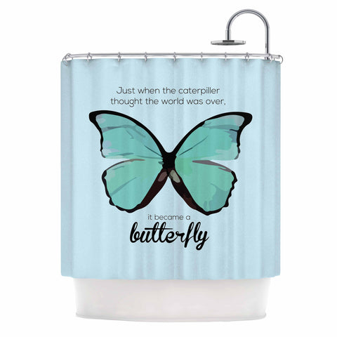 "NL Designs ""Blue Butterfly"" Blue Quote Shower Curtain - KESS InHouse"