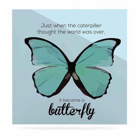 "NL Designs ""Blue Butterfly"" Blue Quote Luxe Square Panel - KESS InHouse  - 1"