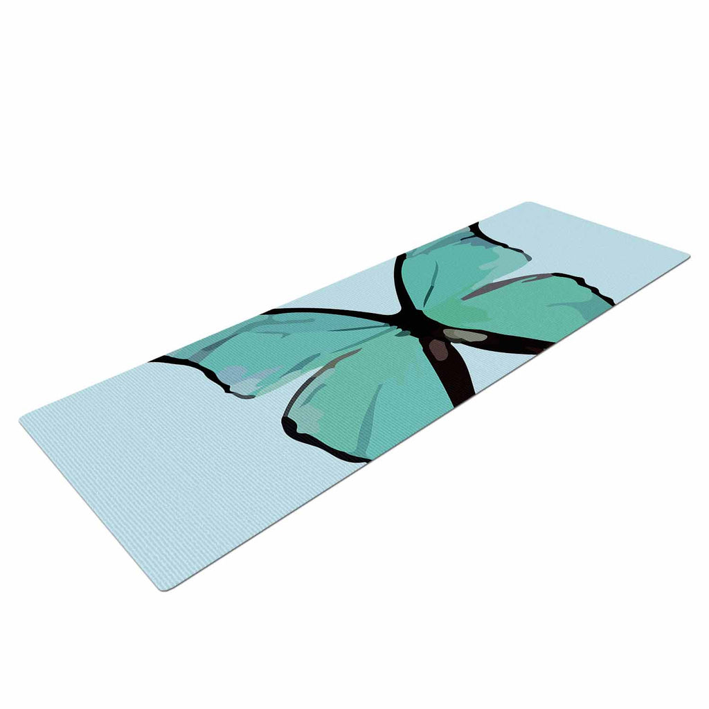 "NL Designs ""Blue Butterfly"" Blue Quote Yoga Mat - KESS InHouse  - 1"