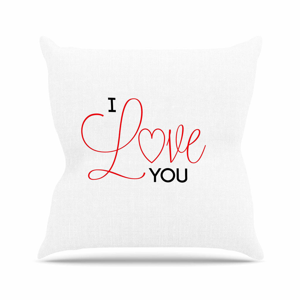 "NL Designs ""I Love You"" White Red Outdoor Throw Pillow - KESS InHouse  - 1"
