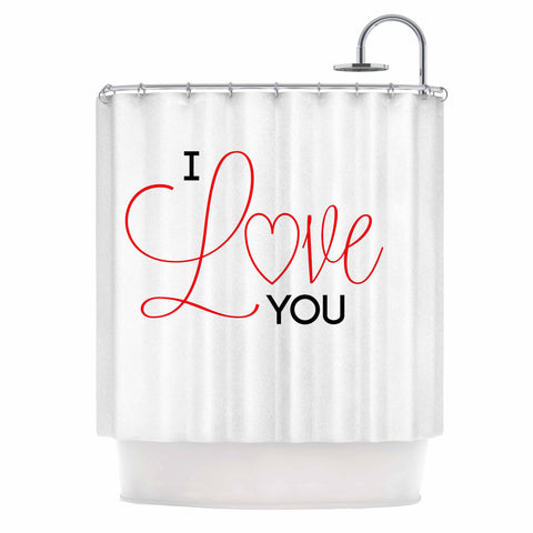"NL Designs ""I Love You"" White Red Shower Curtain - KESS InHouse"