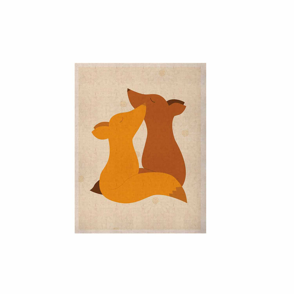 "NL Designs ""Foxy Love"" Orange Brown KESS Naturals Canvas (Frame not Included) - KESS InHouse  - 1"