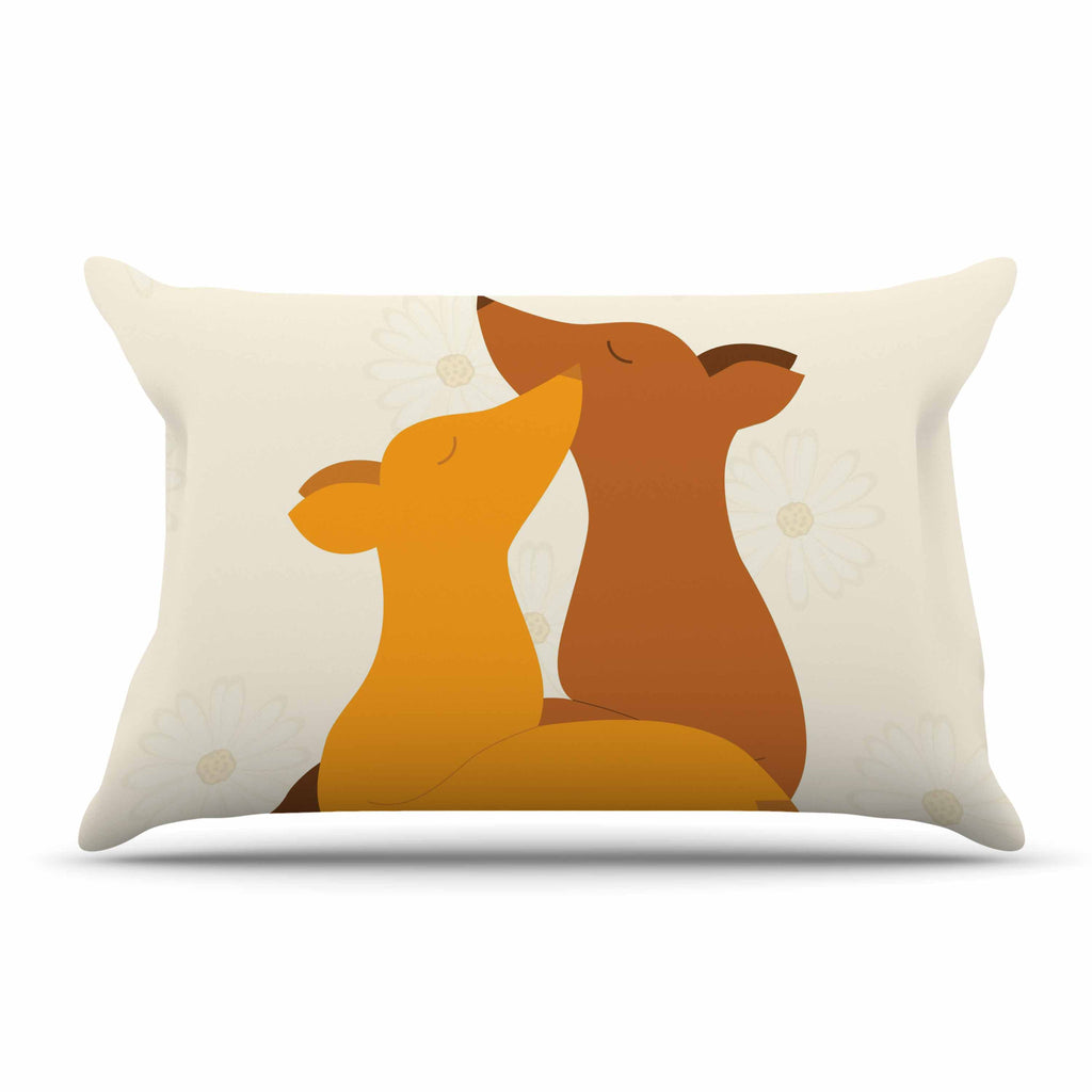 "NL Designs ""Foxy Love"" Orange Brown Pillow Sham - KESS InHouse"