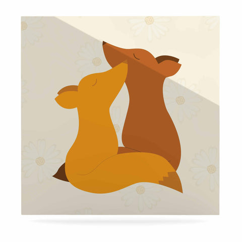 "NL Designs ""Foxy Love"" Orange Brown Luxe Square Panel - KESS InHouse  - 1"
