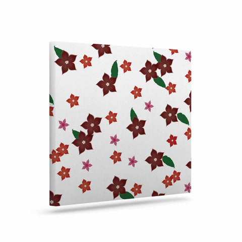 "NL Designs ""Holiday Floral"" White Pattern Canvas Art - KESS InHouse  - 1"