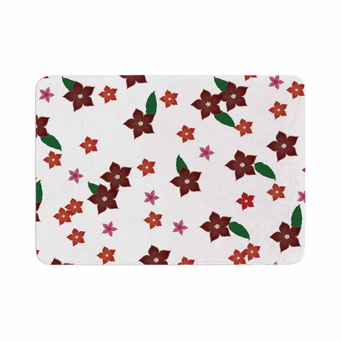 "NL Designs ""Holiday Floral"" White Pattern Memory Foam Bath Mat - KESS InHouse"