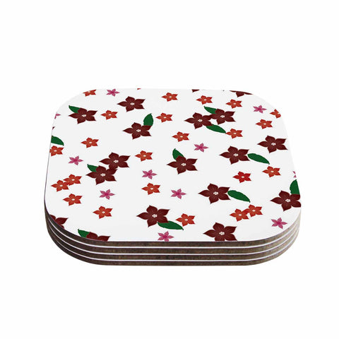 "NL Designs ""Holiday Floral"" White Pattern Coasters (Set of 4)"