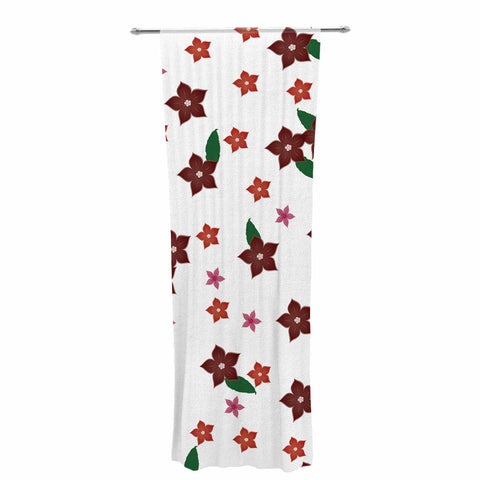 "NL Designs ""Holiday Floral"" White Pattern Decorative Sheer Curtain - KESS InHouse  - 1"