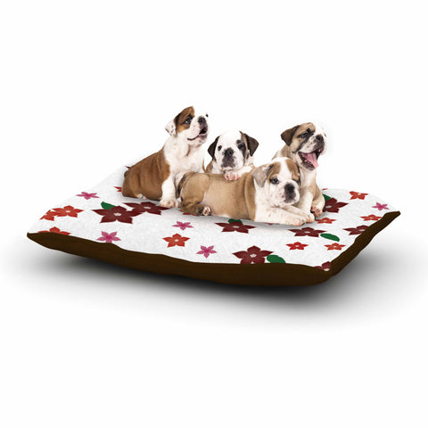 "NL Designs ""Holiday Floral"" White Pattern Dog Bed - KESS InHouse  - 1"