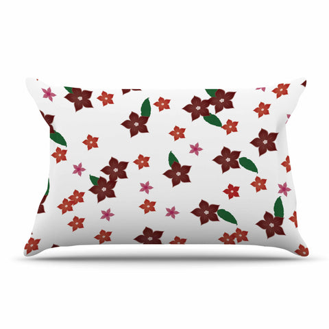 "NL Designs ""Holiday Floral"" White Pattern Pillow Sham - KESS InHouse"