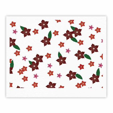 "NL Designs ""Holiday Floral"" White Pattern Fine Art Gallery Print - KESS InHouse"