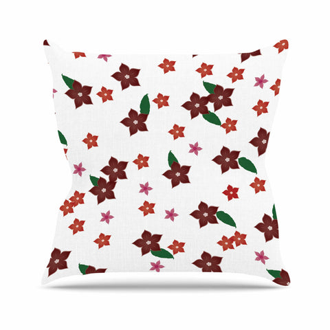 "NL Designs ""Holiday Floral"" White Pattern Throw Pillow - KESS InHouse  - 1"